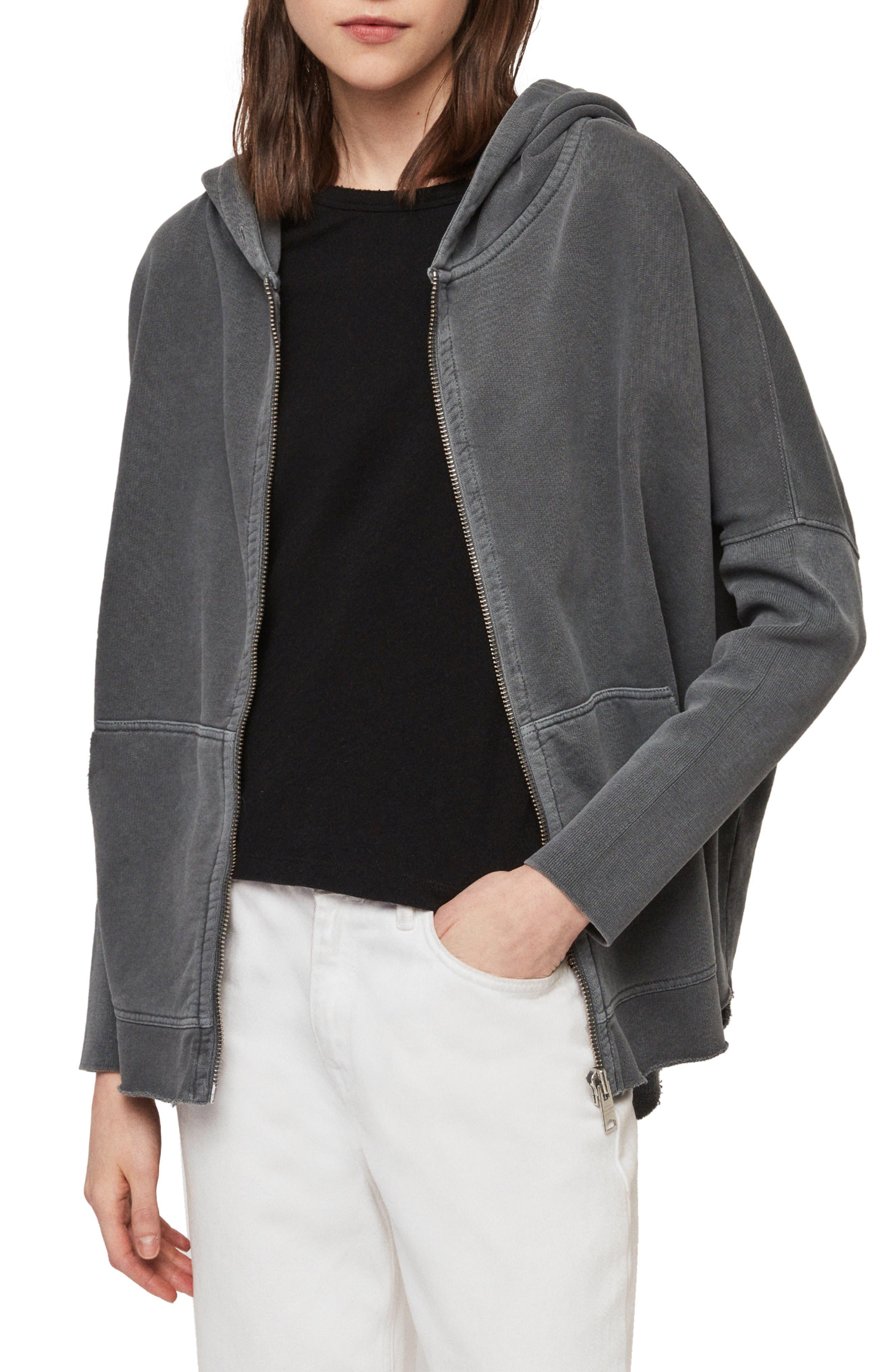 ,                             Xonda Zip Hooded Sweatshirt,                             Alternate thumbnail 7, color,                             WASHED BLACK
