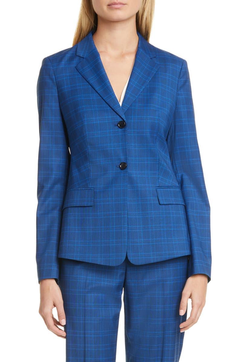 BOSS Jatinda Glen Check Wool Suit Jacket, Main, color, PACIFIC FANTASY