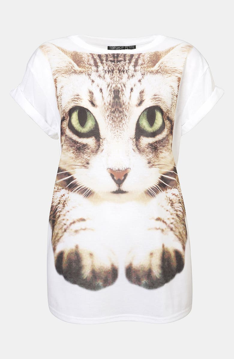 TOPSHOP Cat Photo Tee, Main, color, 100