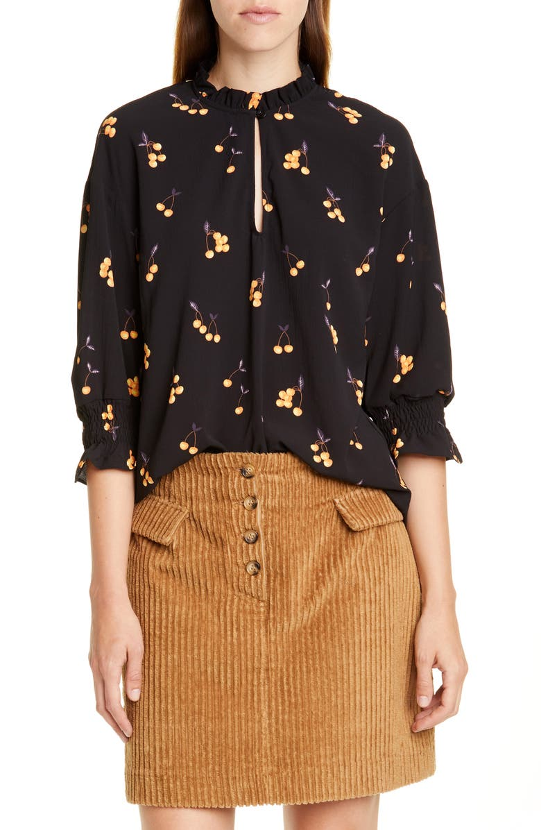BAUM UND PFERDGARTEN Miley Print Blouse, Main, color, ORANGE CHERRY