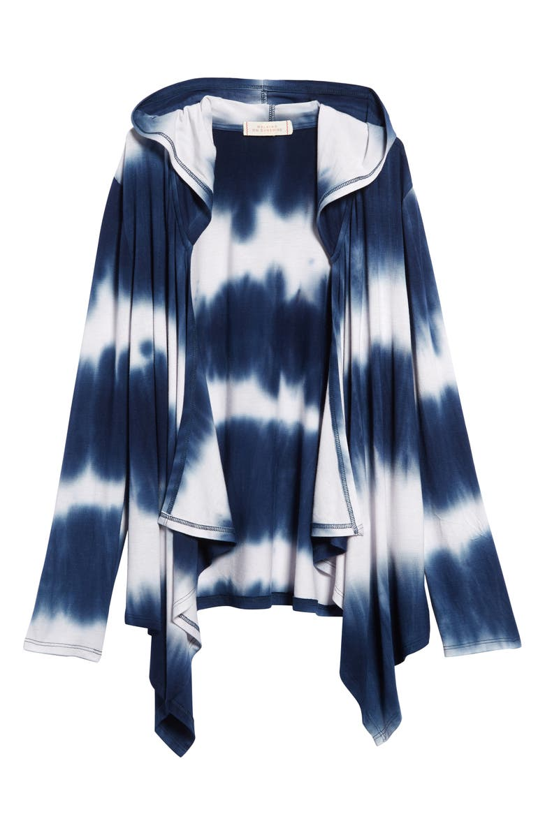 WALKING ON SUNSHINE Tie Dye Hooded Cardigan, Main, color, BLUE WHITE