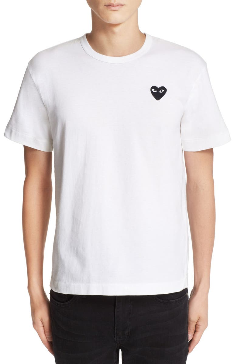 COMME DES GARÇONS PLAY Logo Slim Fit Graphic T-Shirt, Main, color, WHITE