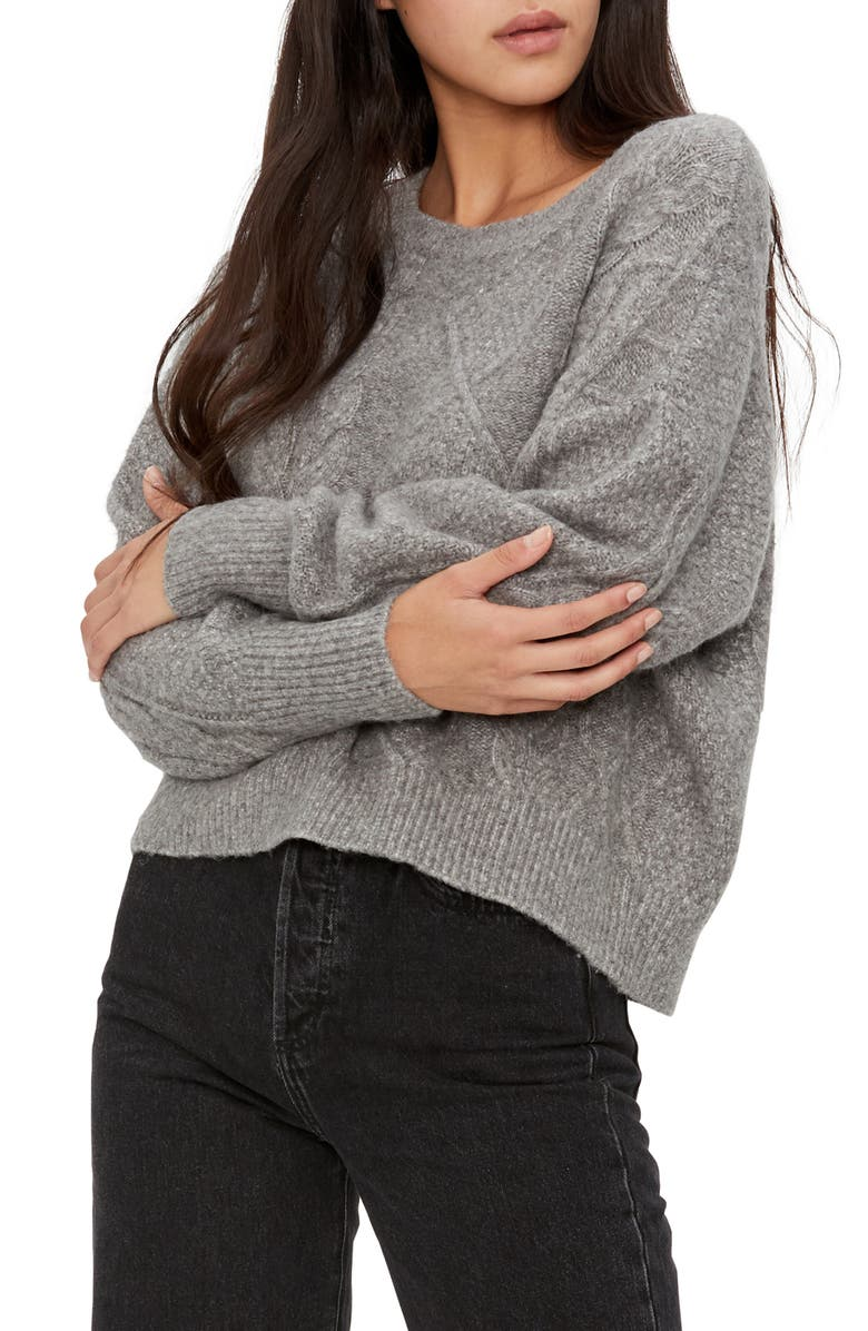 MICHAEL STARS Penelope Crop Sweater, Main, color, HEATHER GREY