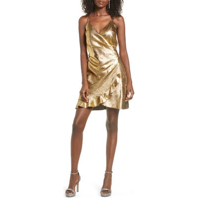 J.o.a. Ruffle Faux Wrap Minidress, Metallic