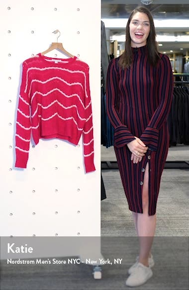 Wave Stripe Pointelle Stitch Cashmere & Silk Sweater, sales video thumbnail
