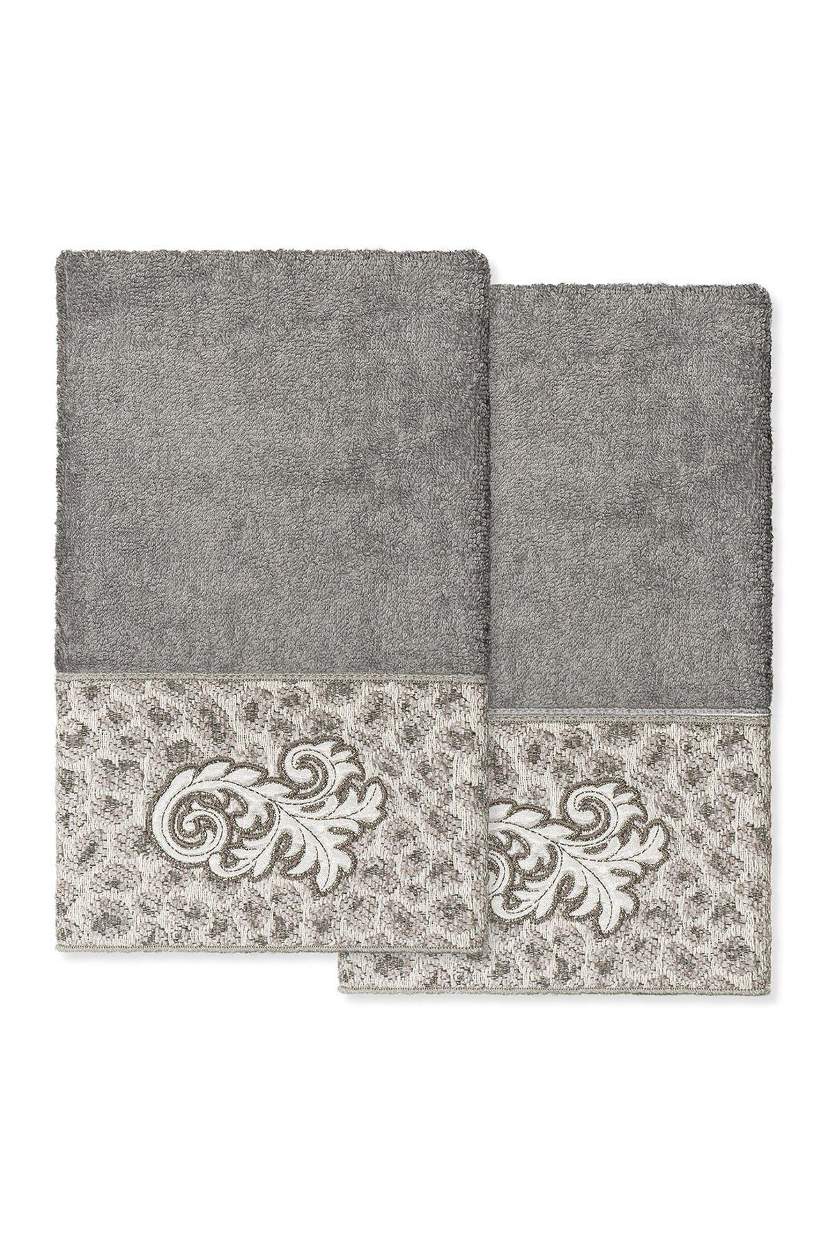 Image of LINUM HOME April Embellished Hand Towel - Set of 2 - Dark Gray
