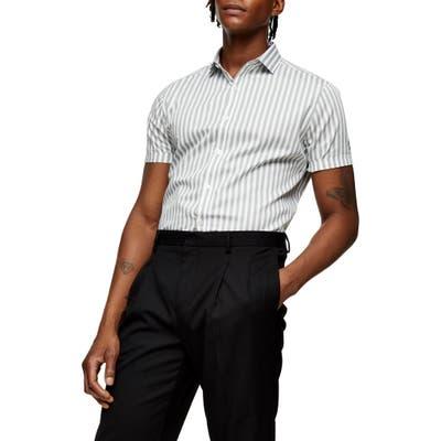 Topman Bengal Stripe Short Sleeve Button-Up Shirt, Green