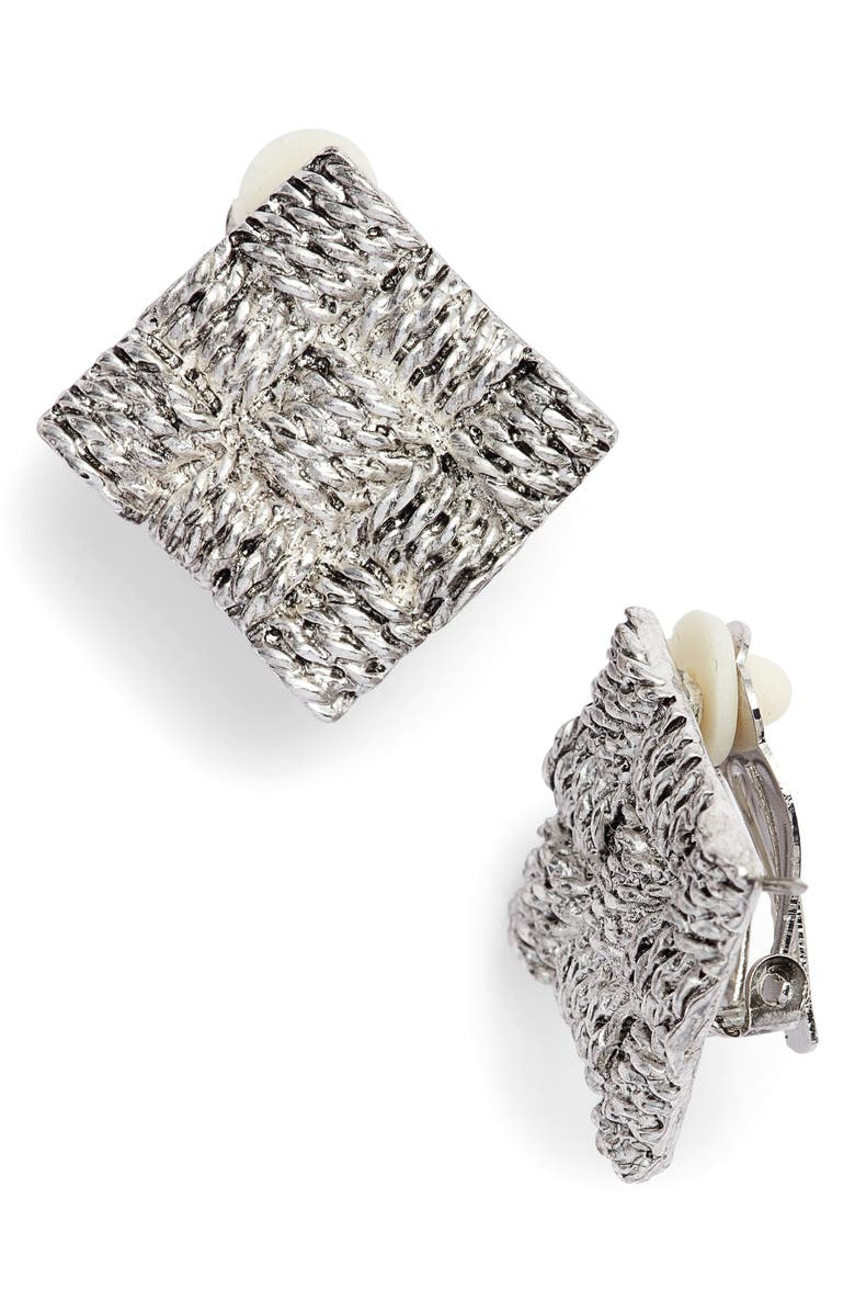 KARINE SULTAN Basket Weave Square Clip Earrings, Main, color, 040