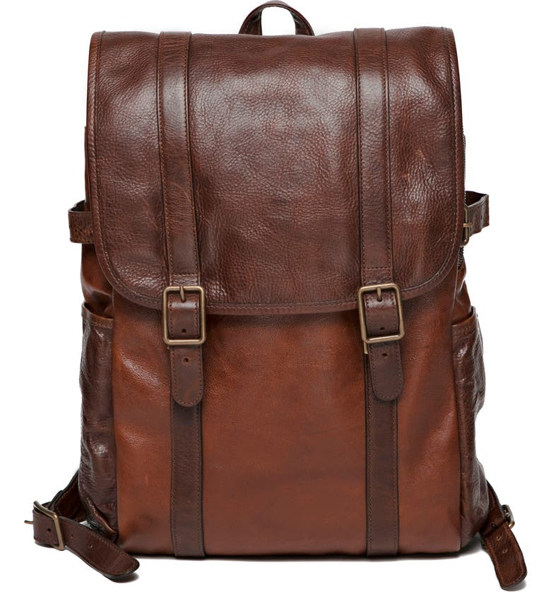 MOORE & GILES Crews Leather Backpack, Main, color, TITAN MILLED HONEY