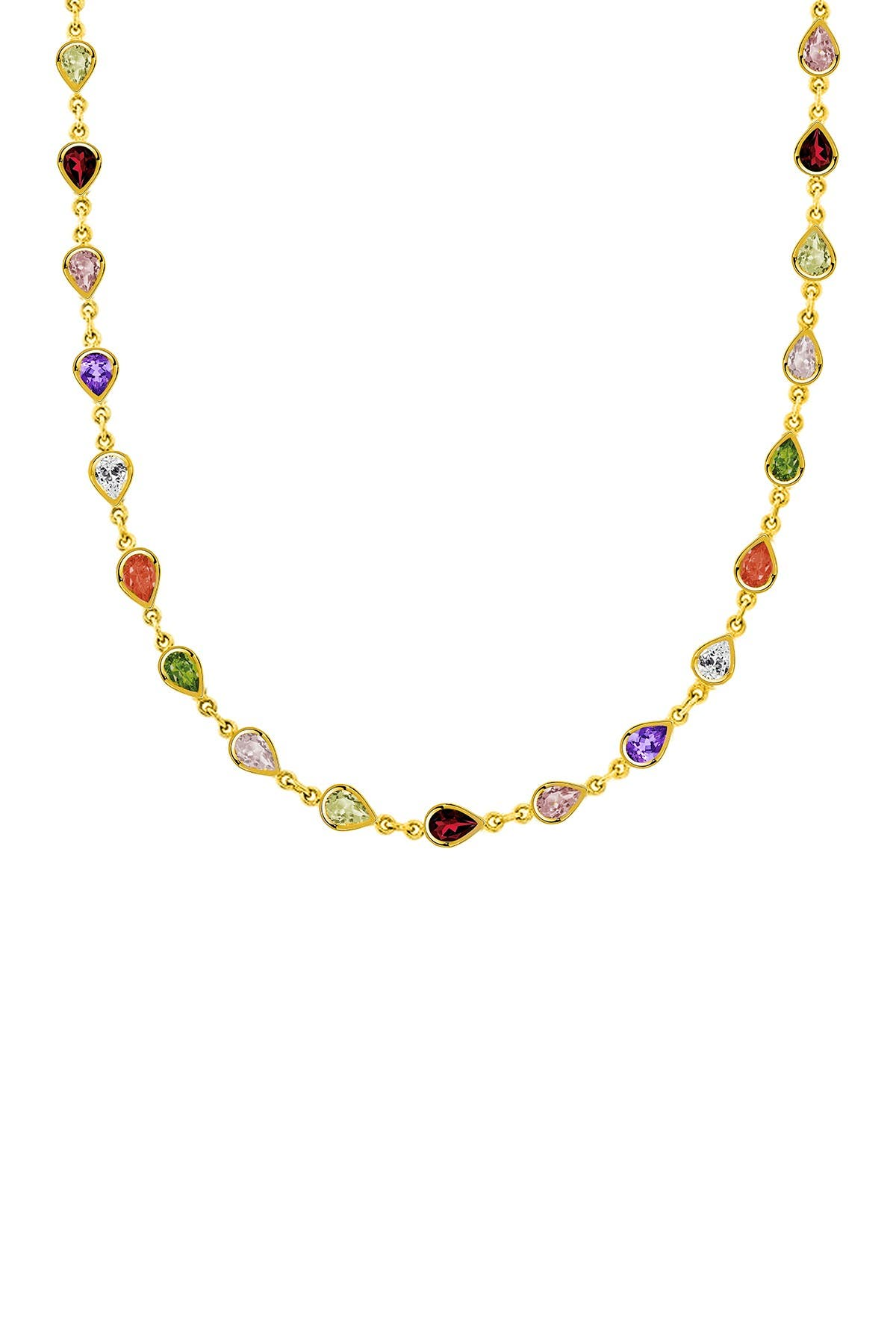 Image of Savvy Cie 18K Gold Vermeil Sterling Silver Cubic Zirconia Semi Precious Pear Necklace