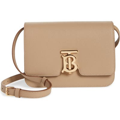 Burberry Small Tb Monogram Grainy Leather Shoulder Bag - Beige