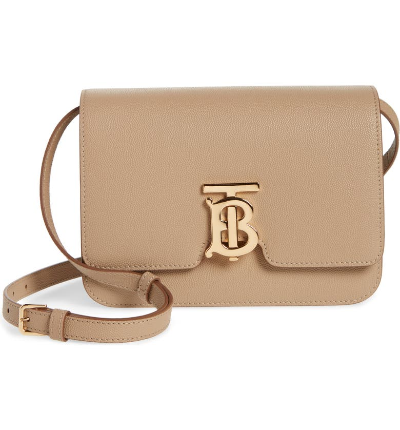 BURBERRY Small TB Monogram Grainy Leather Shoulder Bag, Main, color, ARCHIVE BEIGE