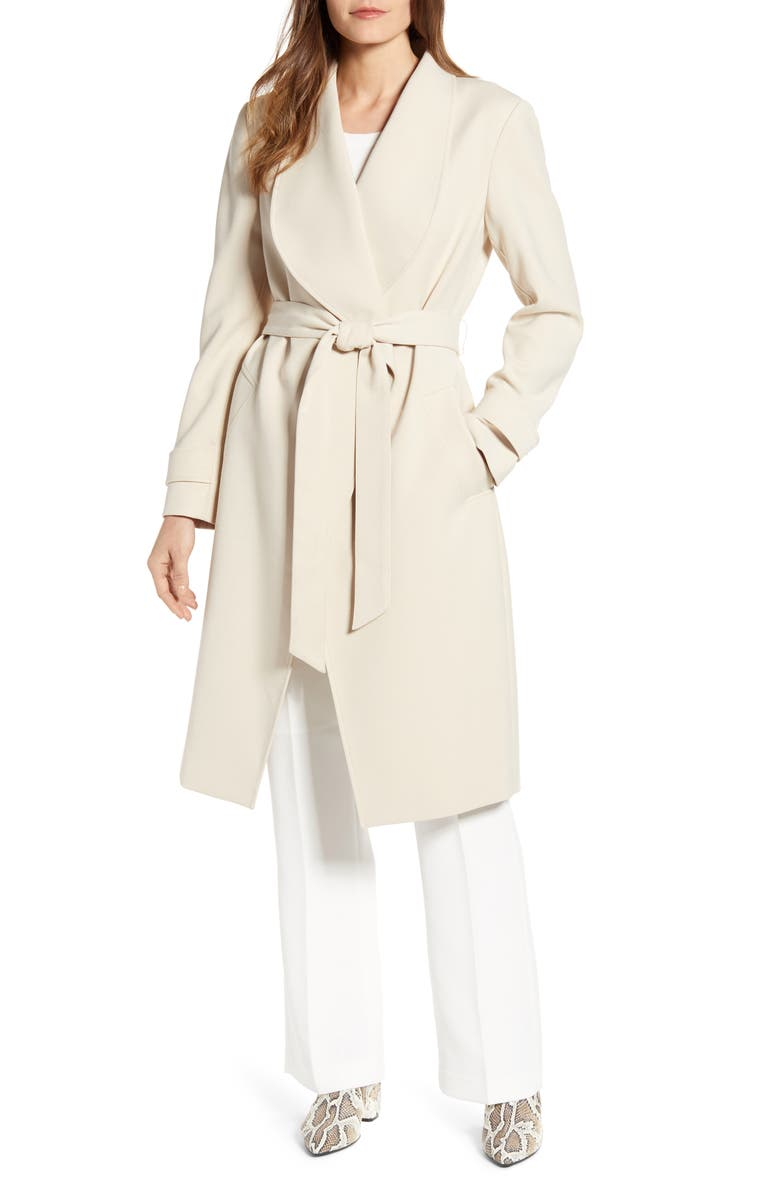 KENNETH COLE NEW YORK Drape Collar Wrap Coat, Main, color, DESERT