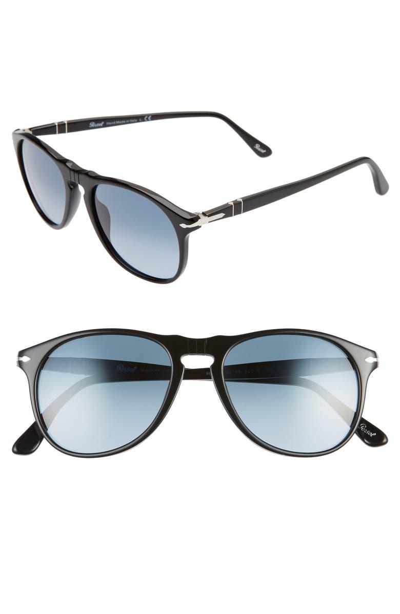 PERSOL 52mm Retro Sunglasses, Main, color, BLACK/ AZURE GRADIENT