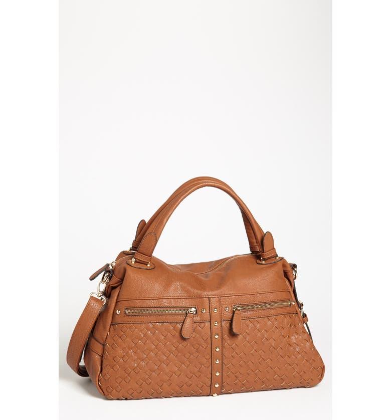 NB HANDBAGS Weave Detail Faux Leather Satchel, Main, color, 200