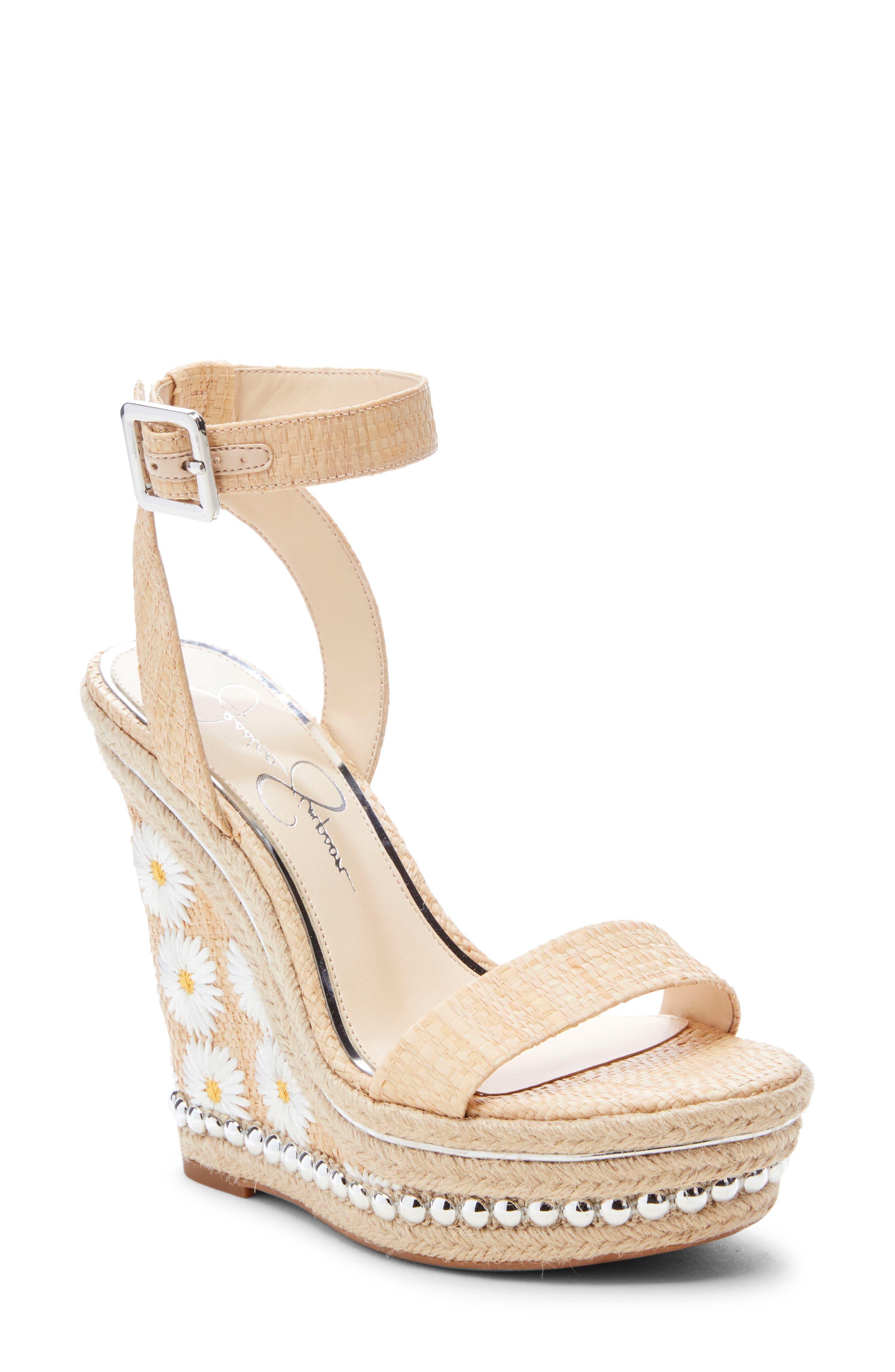 Jessica Simpson Alinda Embellished Wedge Sandal, Brown