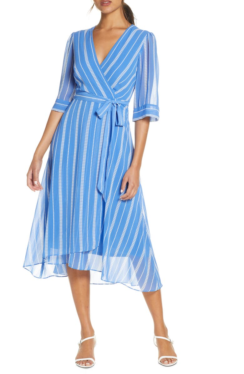 MAISON TARA Stripe Wrap Front Georgette Dress, Main, color, PERIWINKLE/ CREAM