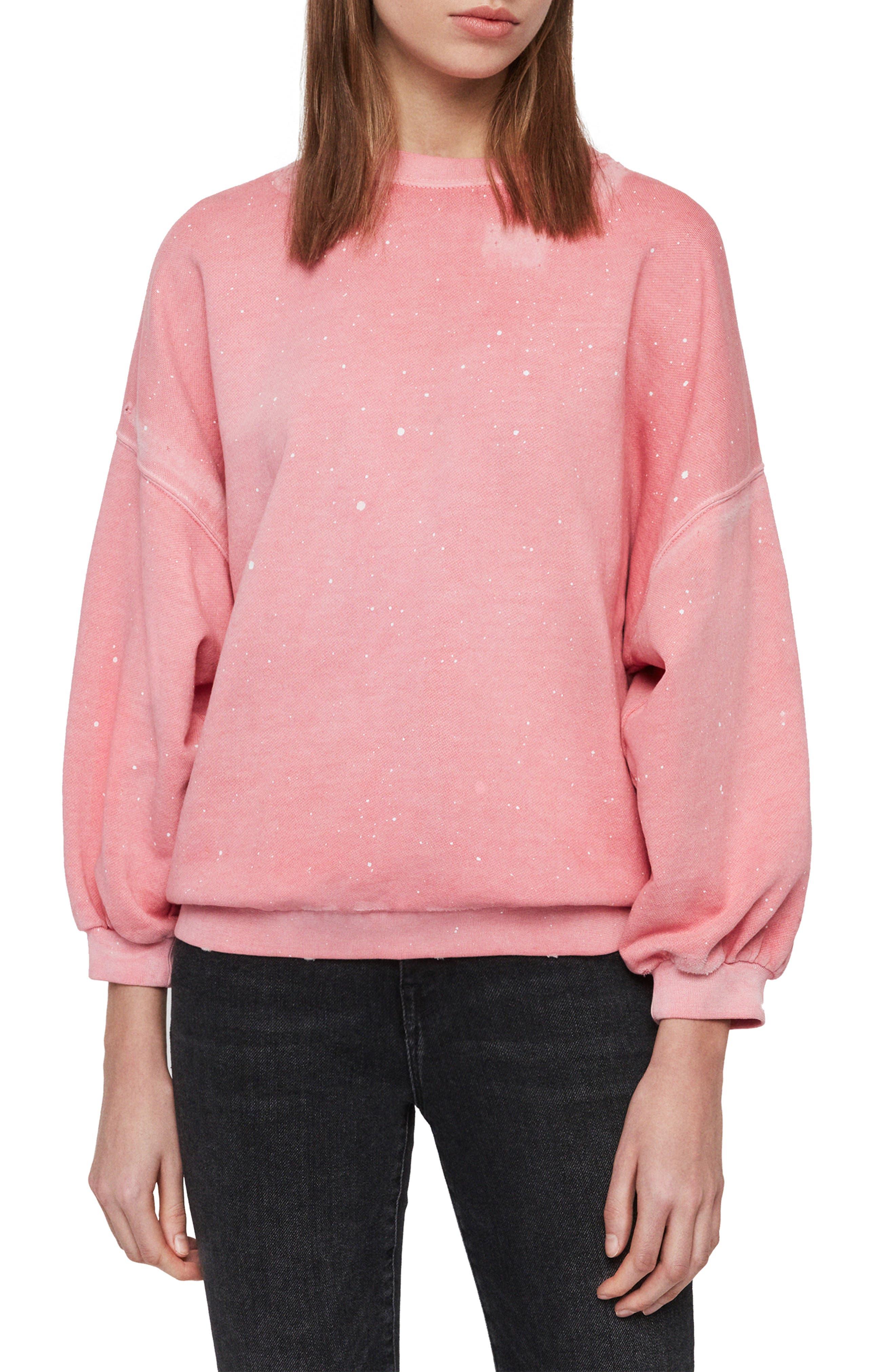 Allsaints Storn Splatter Sweatshirt, Pink