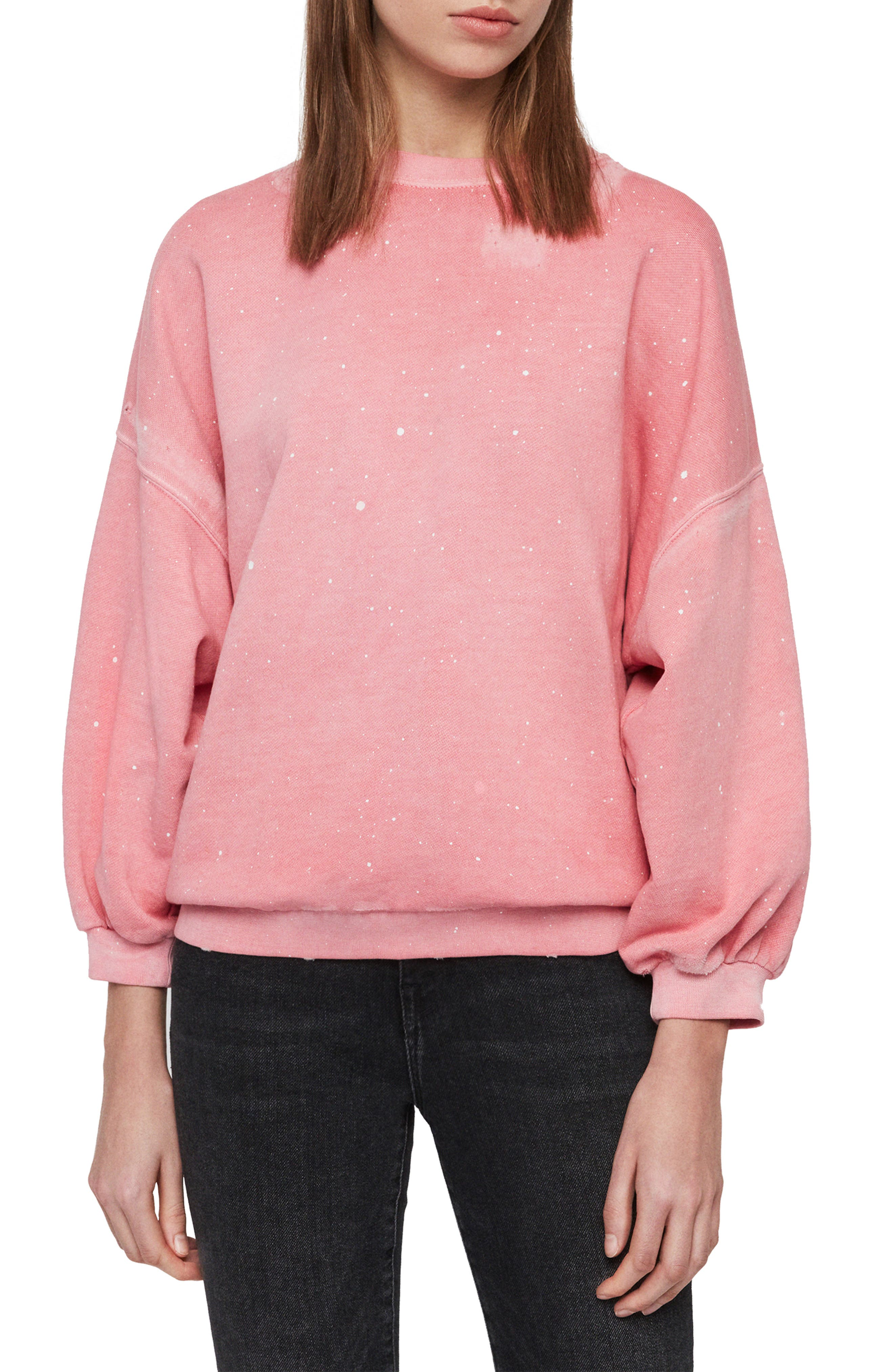 ,                             Storn Splatter Sweatshirt,                             Main thumbnail 1, color,                             PINK
