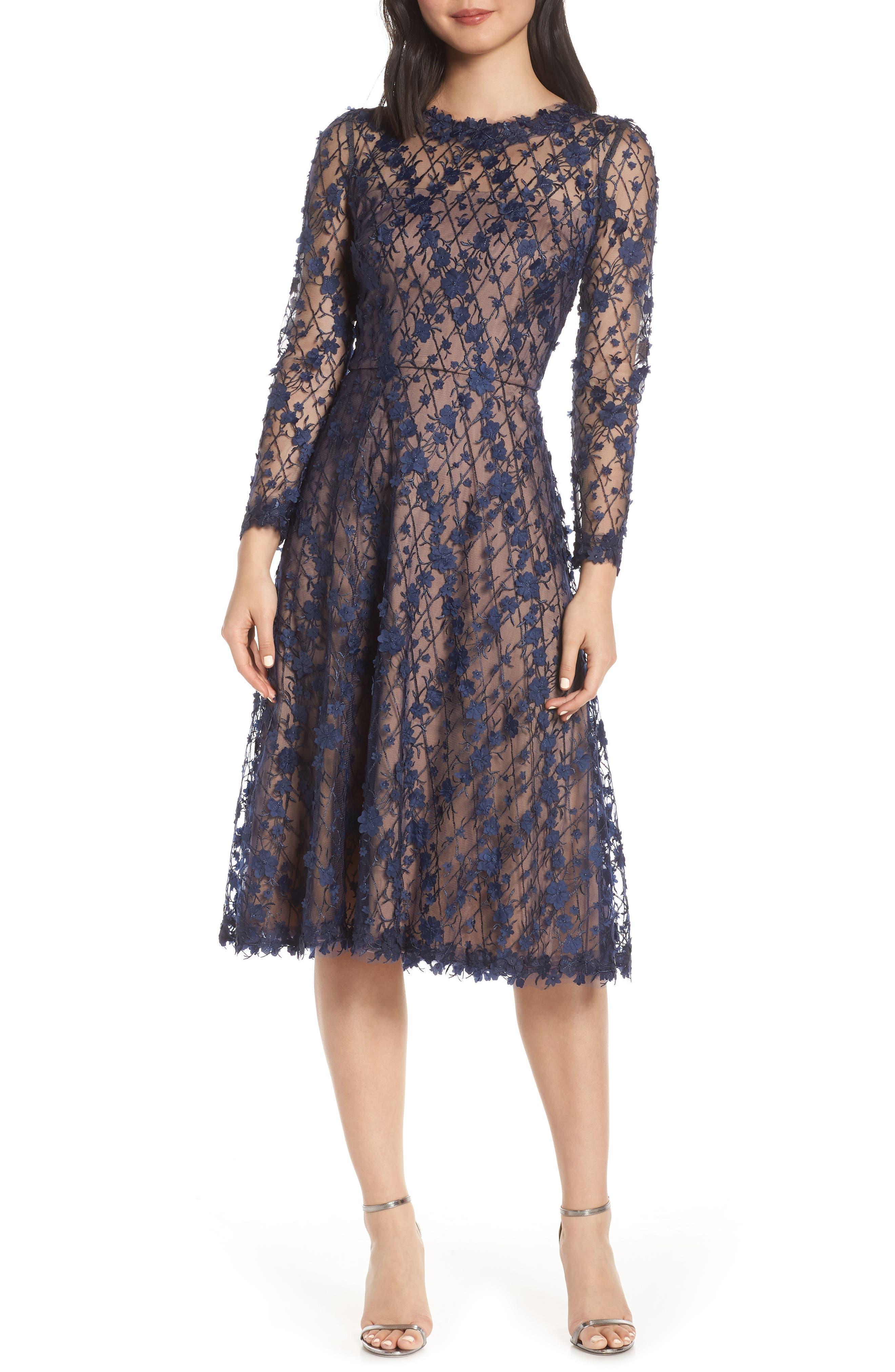 Tadashi Shoji 3D Flowers Lace Dress, Blue