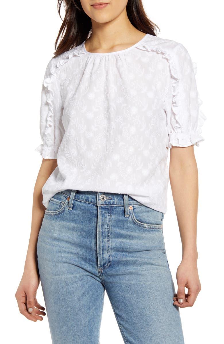LUCKY BRAND Lauren Ruffle Top, Main, color, LUCKY WHITE