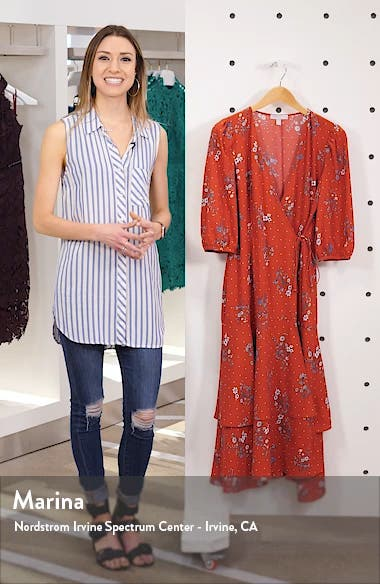 Floral & Dot Print Tiered Wrap Dress, sales video thumbnail
