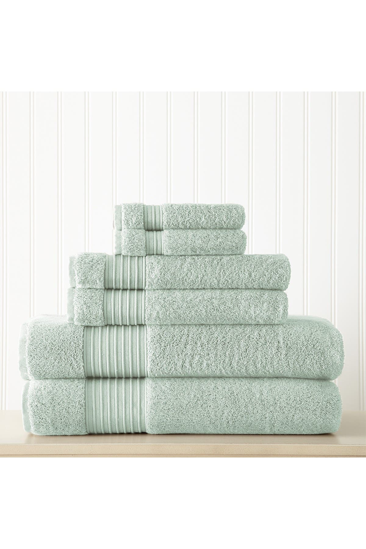 Image of Modern Threads 6-Piece Turkish Cotton Towel Set - Aqua