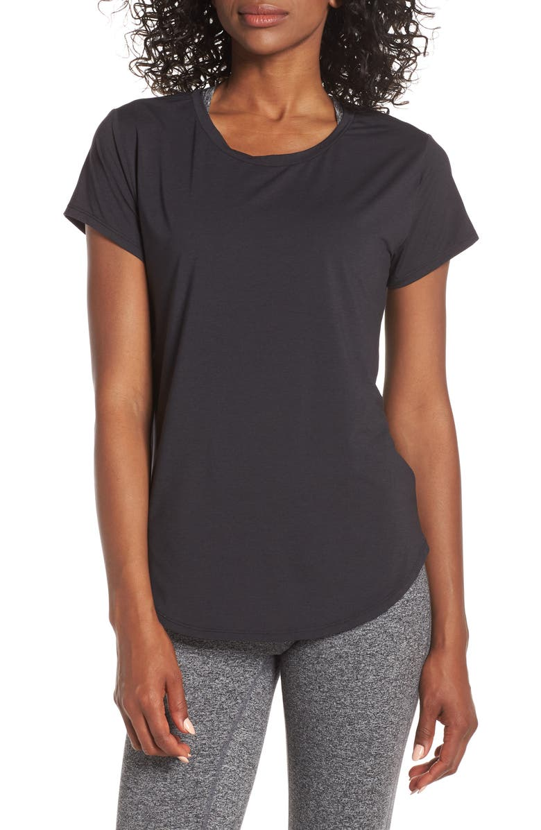 ZELLA Strength Performance Tee, Main, color, BLACK