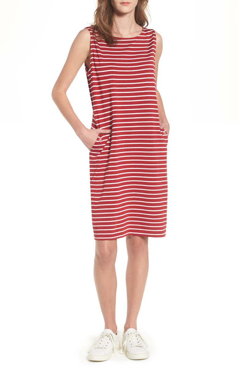 BARBOUR Dalmore Stripe Jersey Sleeveless Shift Dress, Main, color, 630