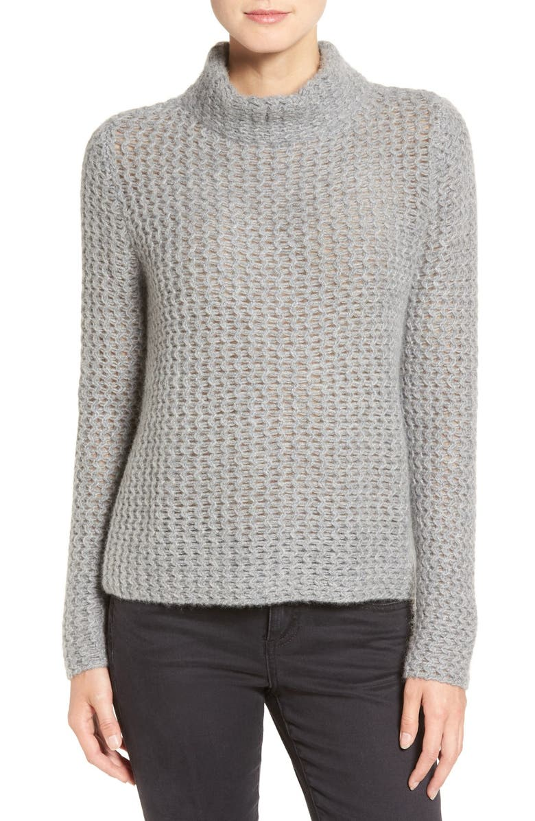 HALOGEN<SUP>®</SUP> Stitch Detail Cashmere Mock Neck Sweater, Main, color, 030
