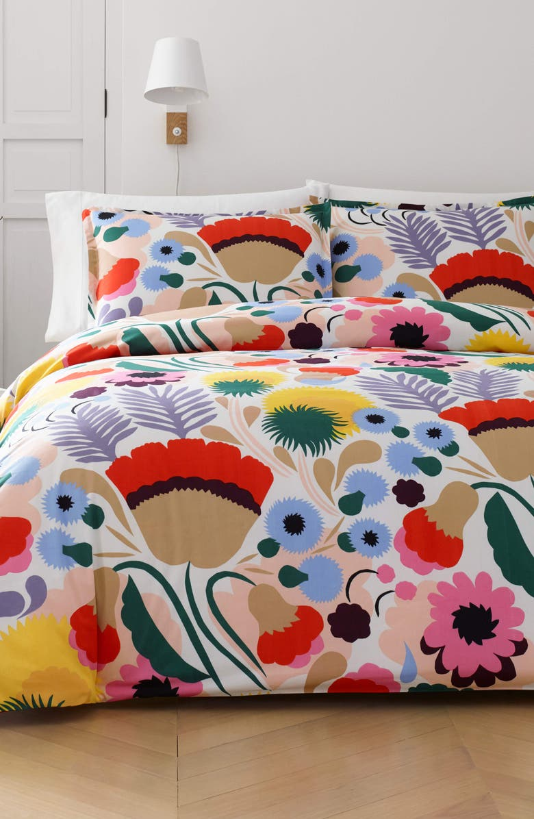 MARIMEKKO Ojakellukka Comforter & Sham Set, Main, color, BLUE/ MULTI