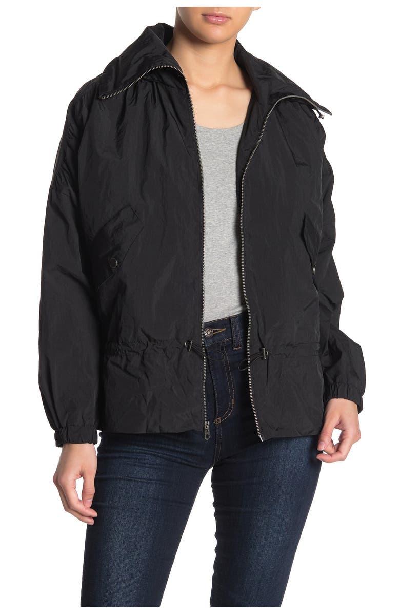LUCKY BRAND Missy Hooded Windbreaker Jacket, Main, color, BLACK