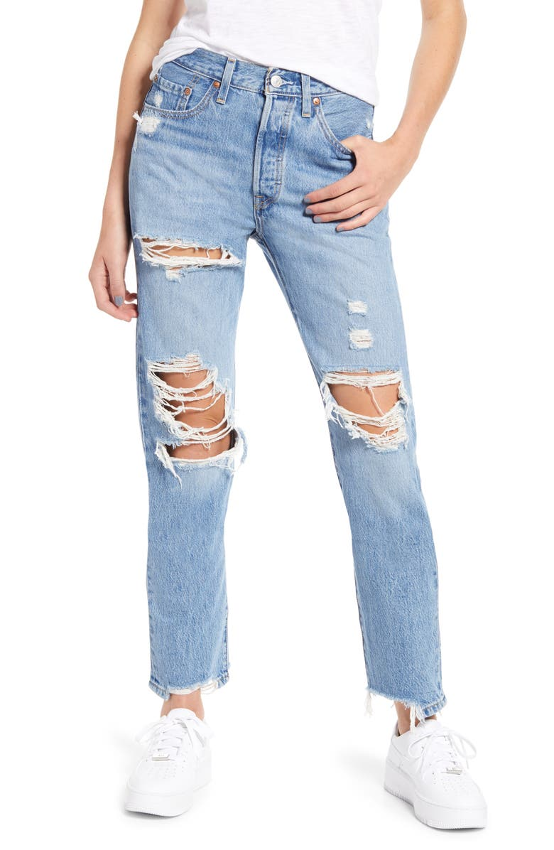 LEVI'S<SUP>®</SUP> 501<sup>®</sup> Ripped High Waist Straight Leg Jeans, Main, color, LUXOR STREET