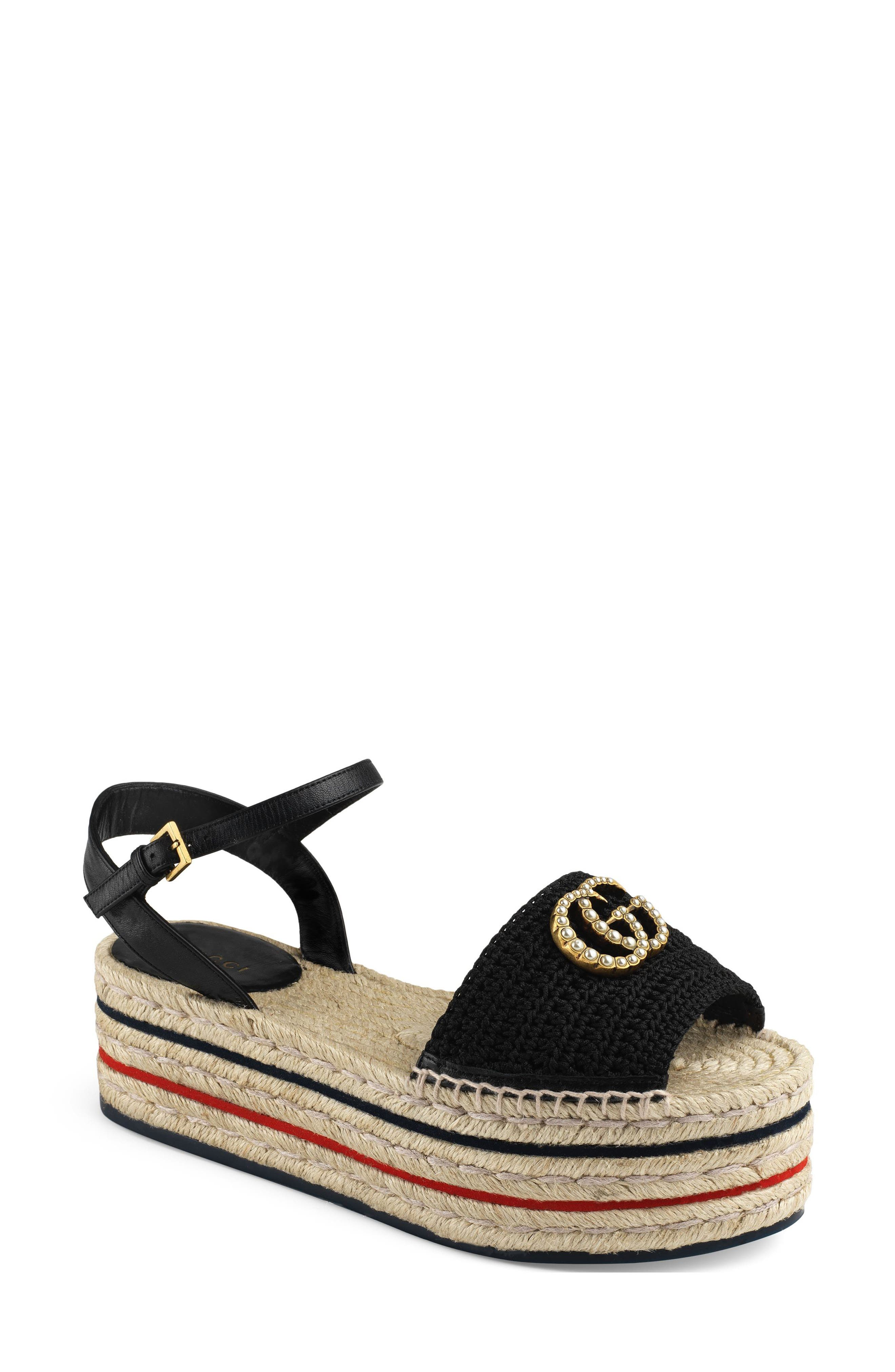 An espadrille-inspired sandal with classic navy and red stripes circling the flatform sole features faux pearl-embellished double-G hardware at the knit vamp. Style Name: Gucci Lilibeth Gg Platform Espadrille Sandal (Women). Style Number: 5738475. Available in stores.