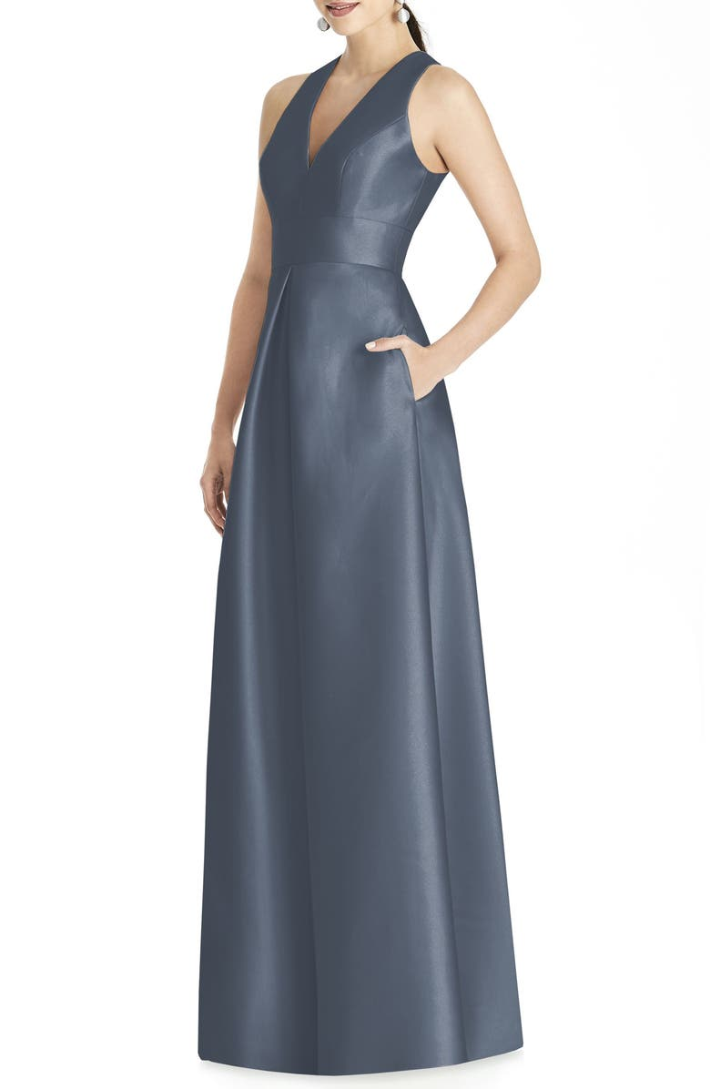 ALFRED SUNG Sleeveless Sateen Gown, Main, color, SILVERSTONE