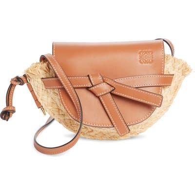 Loewe Gate Mini Leather & Raffia Crossbody Bag - Brown