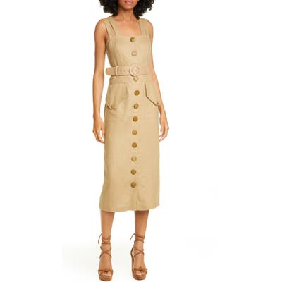 Nicholas Button Front Linen Sundress, Brown