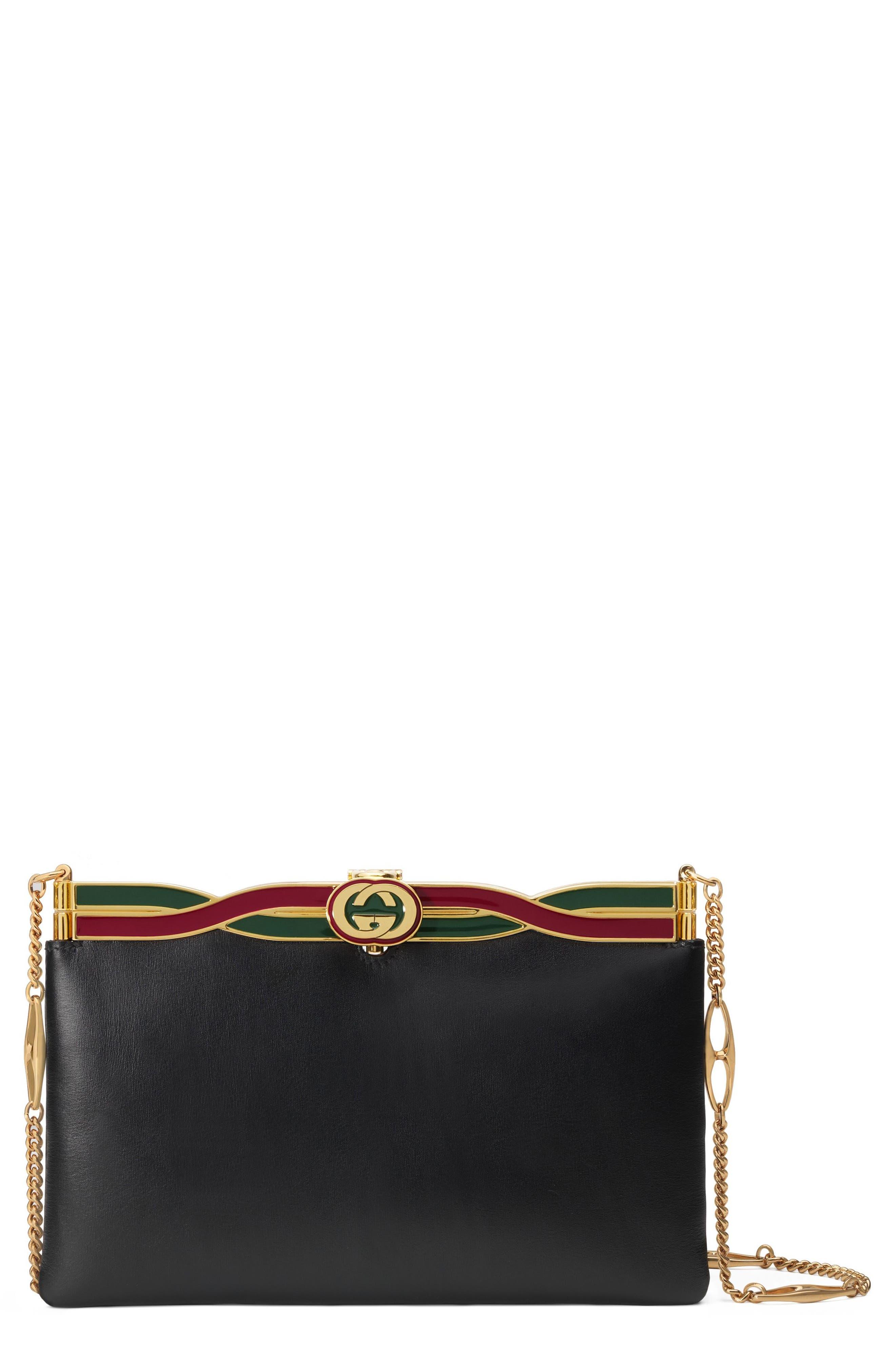 GUCCI Broadway Logo Frame Leather Shoulder Bag