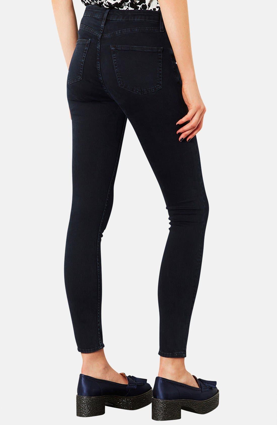 ,                             Moto 'Jamie' High Rise Crop Skinny Jeans,                             Alternate thumbnail 3, color,                             400