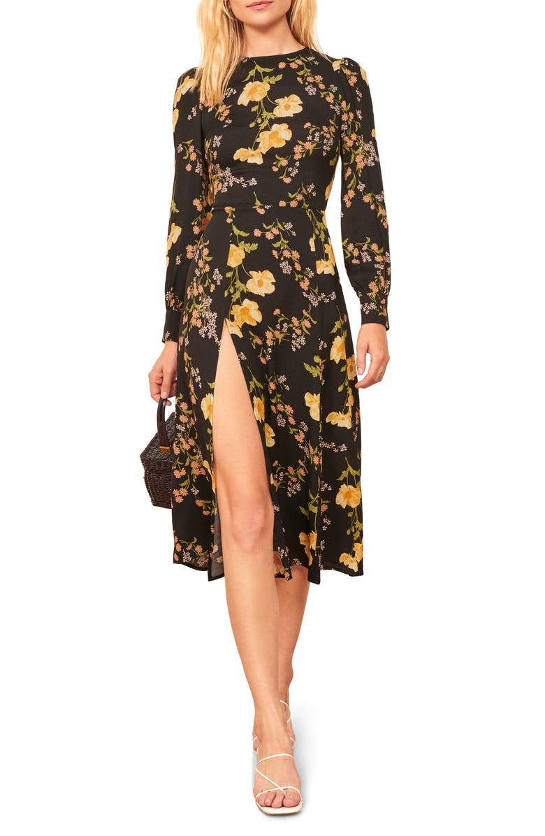 REFORMATION Creed Floral Print Dress, Main, color, MARSEILLE