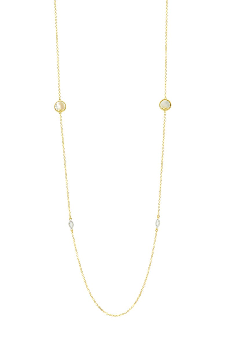 FREIDA ROTHMAN Fleur Bloom Station Necklace, Main, color, WHITE/ GOLD
