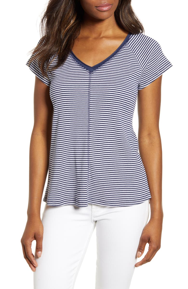 CASLON<SUP>®</SUP> Double V-Neck Ribbed Tee, Main, color, NAVY WHITE EVEN STRIPE