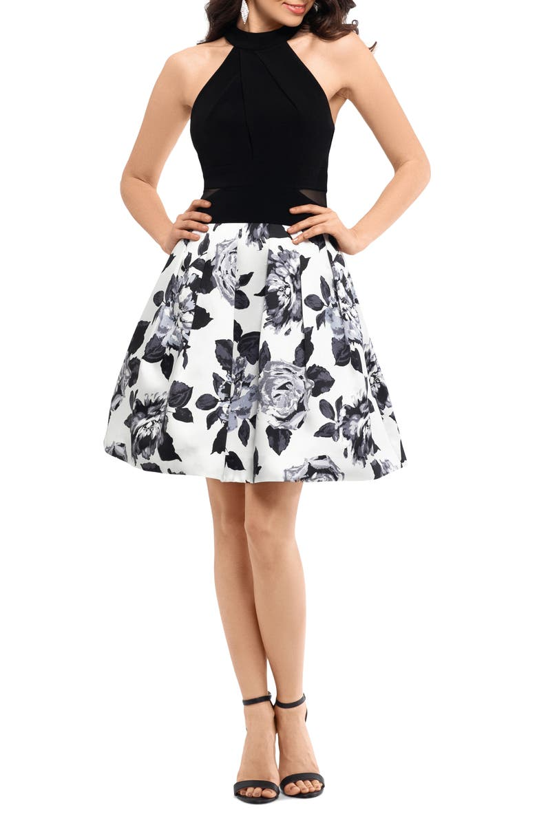 XSCAPE Floral Cocktail Dress, Main, color, 012