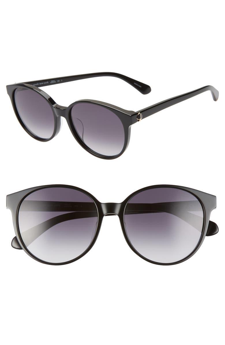 KATE SPADE NEW YORK eliza 55mm polarized round sunglasses, Main, color, BLACK/ DKGREY GRADIENT