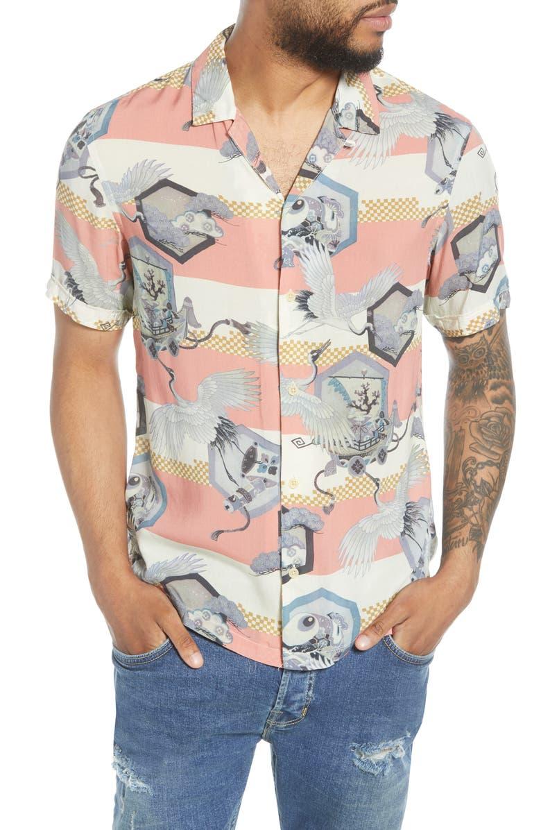ALLSAINTS Shield Slim Fit Camp Shirt, Main, color, 650