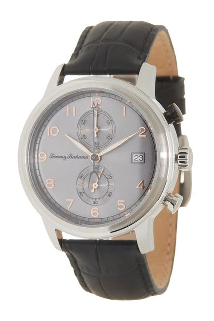 Image of Tommy Bahama Men's Riviera Chronograph Croc Embossed Leather Strap Watch, 44mm