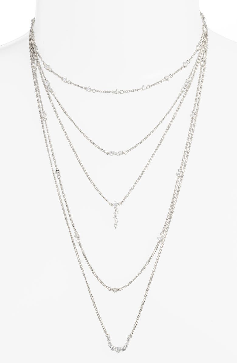 STERLING FOREVER Sterling Silver Faye Layered Necklace, Main, color, SILVER