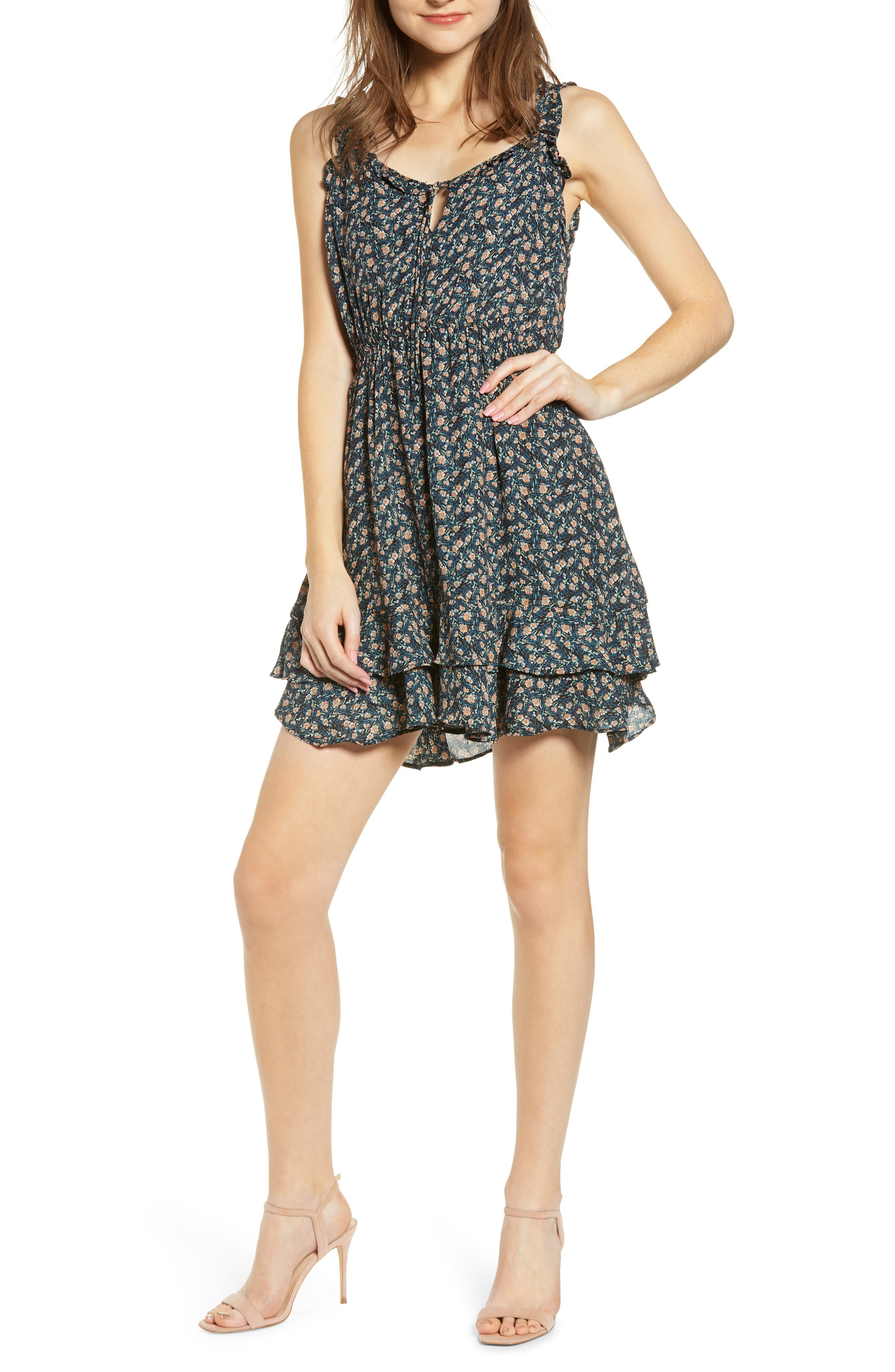 Cupcakes And Cashmere Deliliah Ditsy Floral Print Dress, Blue