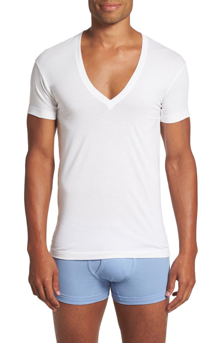 2(X)IST Slim Fit Pima Cotton Deep V-Neck T-Shirt, Main, color, 100