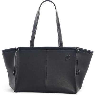 Loewe Cushion Leather Convertible Gusset Tote - Black
